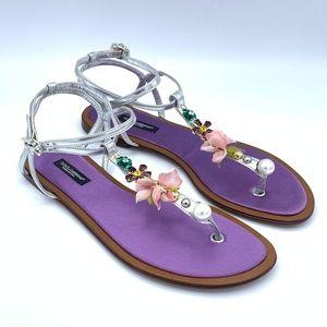 NIB DOLCE & GABBANA Silver Crystal Floral Sandals